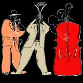 picture of double-bass  - Vector illustration of a Jazz band - JPG