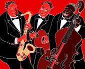 image of double-bass  - Vector illustration of a Jazz band over red background - JPG