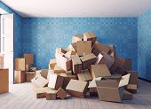 the heap of the cardboard boxes in the room. 3d concept  illustration poster