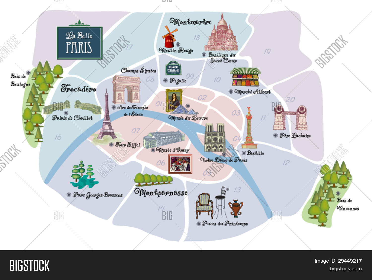 Picturesque Paris Map Famous Vector Photo Bigstock - Paris map monuments
