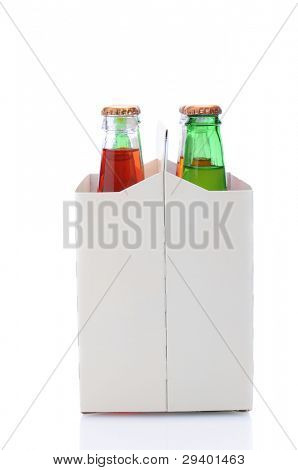 End view of a six pack of assorted soda bottles over a white background with reflection.