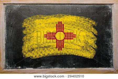 Flag Of Us State Of New Mexico On Blackboard Painted With Chalk