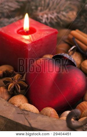 Heart and Candlelight as Christmas Decoration
