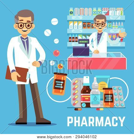 Vector Pharmacy Elements With Male