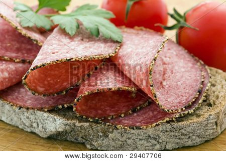 Salami Bread on Cutting Board
