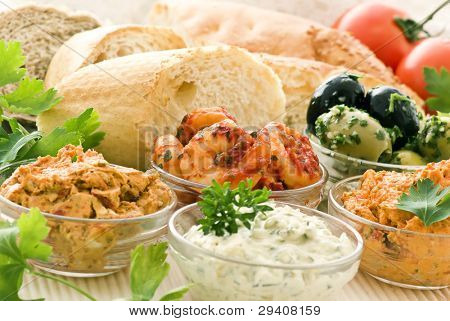 Dips with bread