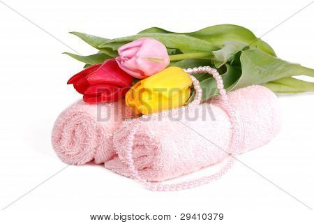 towels and tulips
