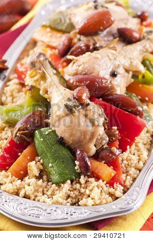 couscous marocain with chicken and vegetable