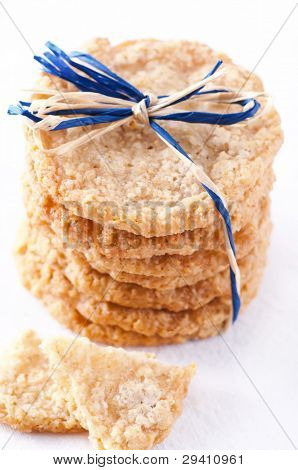 oatmeal cookies isolated as closeup
