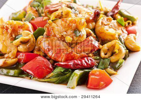 Prawns stir fried with chili