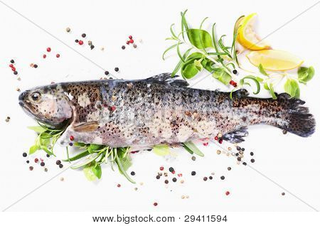 rainbow trout filled with fresh herbs