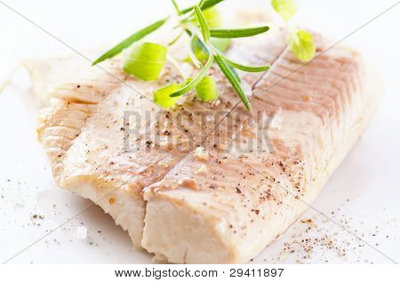 steamed fish fillet with fresh herbs
