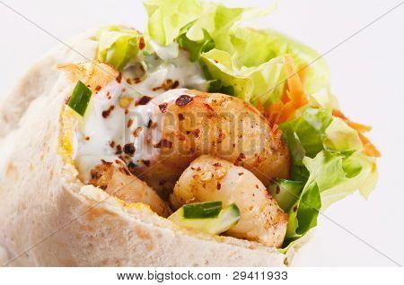 PIta stuffed with Prawn and salad