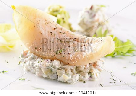 Fish fillet with avocado cream