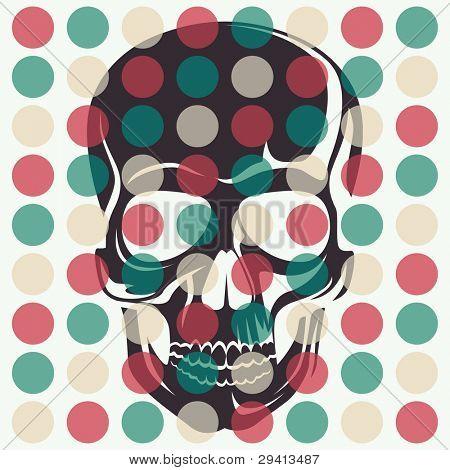 Concepto artístico con el cráneo. Ilustración del vector.
