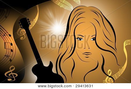 women with music notes and  guitar