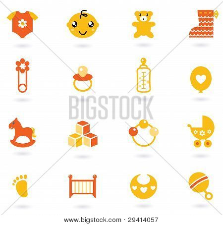 Vector Orange Icons Collection For Baby Isolated On White
