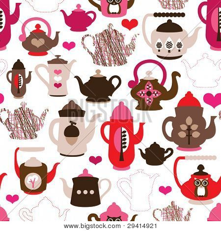 Seamless high tea time pot and cup kitchen background pattern in vector