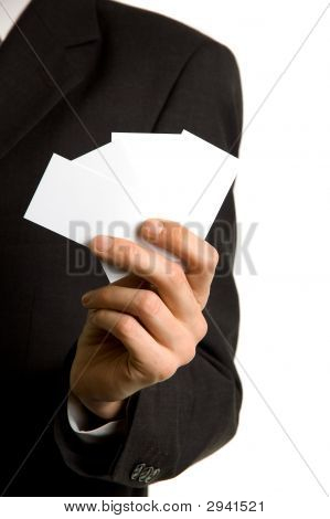 Blank Businesscards In The Hand Of A Businessman