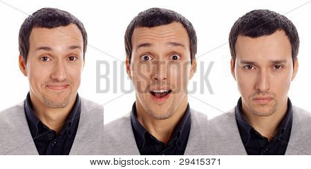 three emotions of one man on a white background