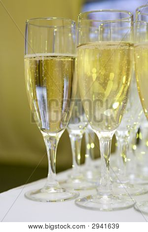Glasses With Sparkling White Wine