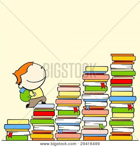 Boy running to the top of stairs of knowledge