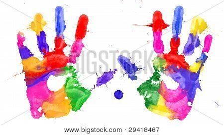 Multicolored Hands Print