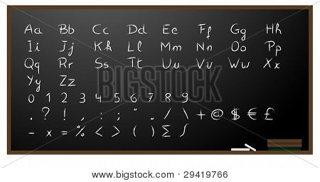 Blackboard background with alphabet, numbers and signs