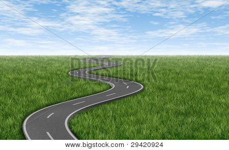 Winding Road On Green Grass Horizon