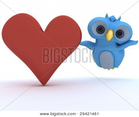 3D Render of a Cute Blue Bird Character holding a heart