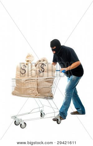 Lucky robber carries two sacks full of dollars in the shopping cart. Isolated over white.