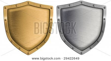 metal shields set silver and gold isolated on white