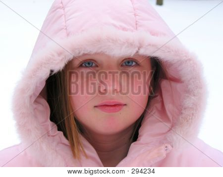 Winter Cutie - Portrait Of A Young Girl In A Hood