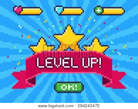 poster of Level Up Screen. Pixel Video Game Achievement, Pixels 8 Bit Games Ui And Gaming Level Progress Vecto
