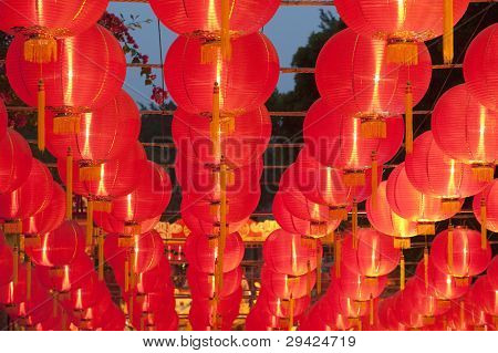 red lanterns with chinese letters printed. It brings good luck and peace to prayer