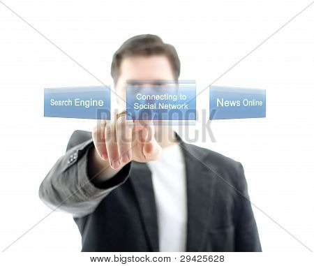 Business Man Pushing Button Social Network On A Touch Screen Interface. Isolated On White.
