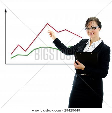 Business Woman Shows A Graph. Isolated On White