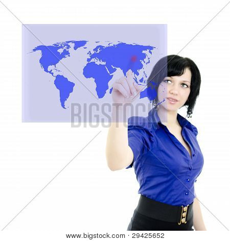 Attractive Executive Woman Pushing On A Touch Screen Interface. Isolated On White.