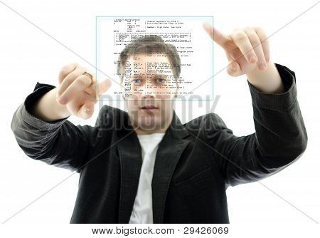 Programmer Working With A Touch Screen Interface. Isolated On White.