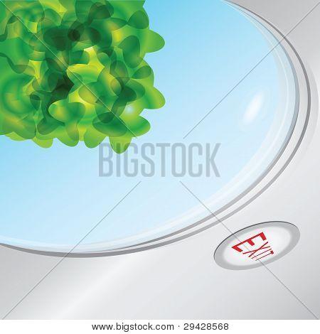 Blue Sky And Leaves Through The Porthole