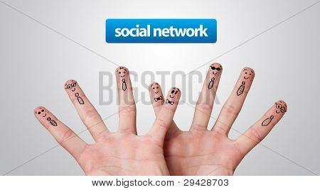 Happy group of finger smileys, social network theme