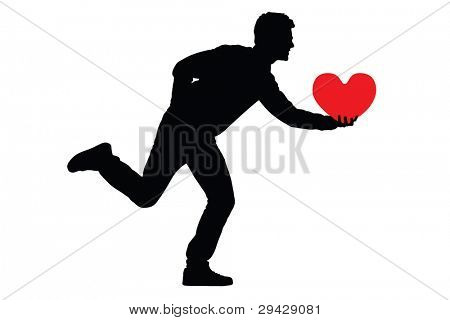 Silhouette of a man holding a red heart, isolated on white background