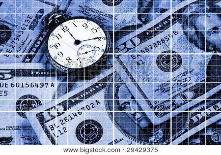 Time and Money concept image. Strong grid lines leading to an old brass pocket watch. Blue tones over US currency.