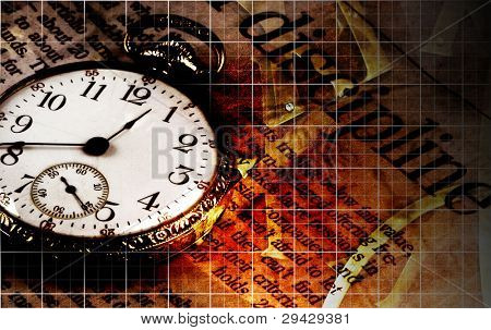 Time and Money discipline abstract image with several grid lines, an old pocket watch and the word 'discipline'