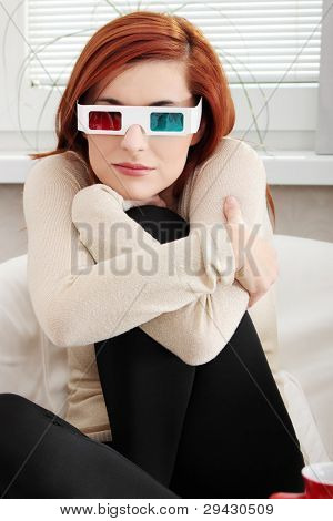 Young beautiful woman with 3d glasses