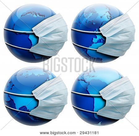 Abstract Allegory Concept With Earth And Flu Mask,  Few Globe Positions