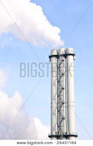 Lot Of Smoke From Industrial Smokestack