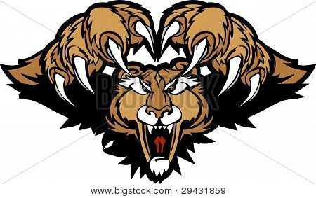 Cougar Puma Mascot Pouncing Graphic Illustration.
