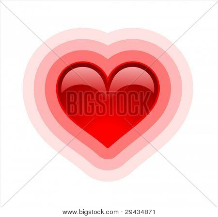 Background with glossy heart on white, variant 1