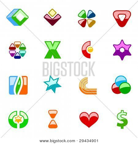 Set 1 of colorful editable vector  signs (flatten variant)